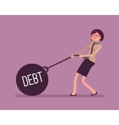 Businesswoman dragging a weight debt on chain vector