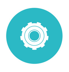 Circle light blue with gear of wheel vector