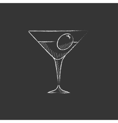 Cocktail glass drawn in chalk icon vector