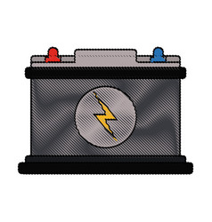 Color blurred stripe of car battery icon vector