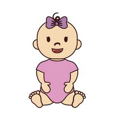 cute baby girl icon vector image vector image