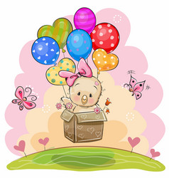 Cute chicken with balloons vector