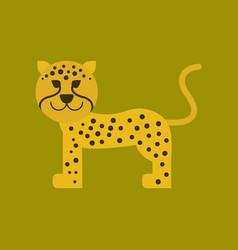 Flat icon on background cartoon leopard vector