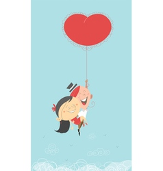 Flying heart balloon vector