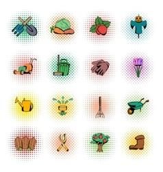 Garden comics icons set vector image