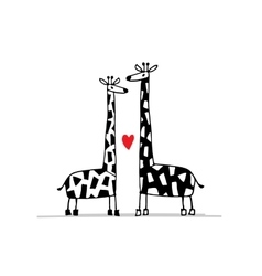 Giraffes couple in love sketch for your design vector image