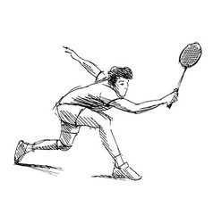 Hand sketch man playing badminton vector image vector image