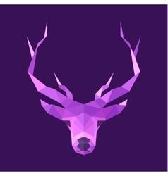 Horned animal deer head logo low poly vector