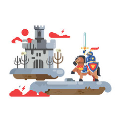 knight with sword and old castle vector image
