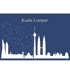 Kuala lumpur city skyline on blue background vector