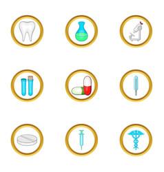 Medical laboratory icon set cartoon style vector