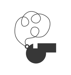 Monochrome silhouette of whistle with cord vector