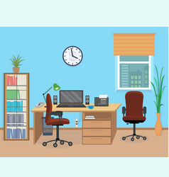 Office room interior with furniture and equipment vector