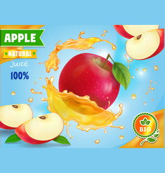 Red apple fresh juice advetising vector