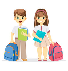 Schoolboy and schoolgirl with backpack and vector