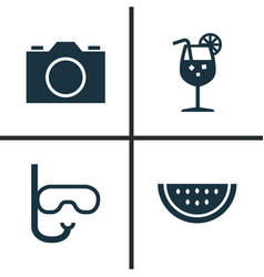 Season icons set collection of goggles video vector