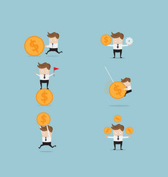 Set of businessman and money coin vector
