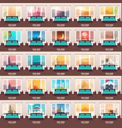 set of hotel room banners view from the window vector image