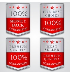 silver badge label set with premium quality and vector image vector image