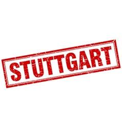 Stuttgart red square grunge stamp on white vector