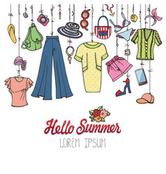 summer fashionwoman colorful vacation wear vector image