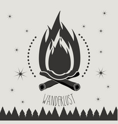 Woodfire symbol to wanderlust camping and explore vector