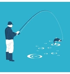Fisherman pulls the catch vector