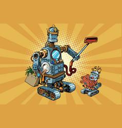 Family retro robots dad and baby vector