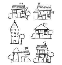 Set of house hand draw vector