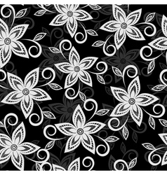 Black and white floral background lace flowers vector