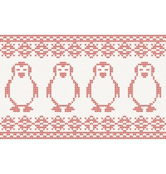 Red knitted background with penguins vector