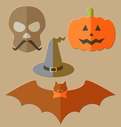 Flat scull pumkin hat and bat vector image