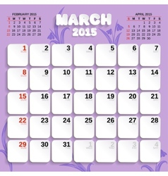 March month calendar 2015 vector