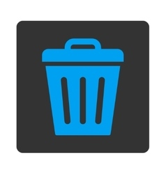 Trash Can flat blue and gray colors rounded button vector image