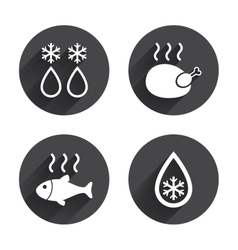 Defrosting drop and snowflake fish chicken vector