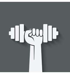 Hand with dumbbell fitness symbol vector