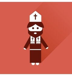 Flat icon with long shadow christian priest vector