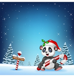 Cartoon funny panda sitting with a north pole vector