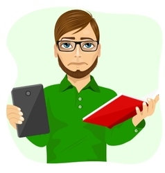 Student boy choosing between tablet and books vector