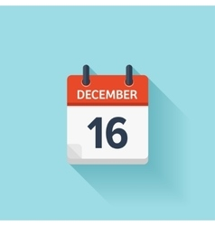 December 16 flat daily calendar icon vector