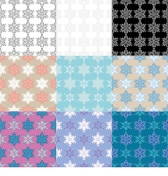 9 seamless winter backgrounds vector
