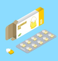Beer pills in pack alcohol tablets pills in box vector