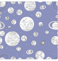 black white pattern planets of the solar system vector image vector image