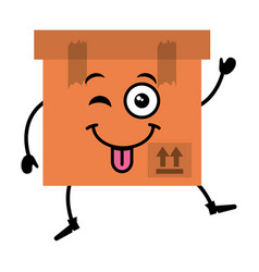 Box carton kawaii character vector