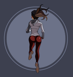 Cartoon woman in sports clothes running rear view vector