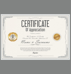 certificate retro design template 02 vector image