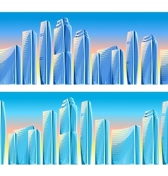 City skyscrapers seamless borders in blue colors vector