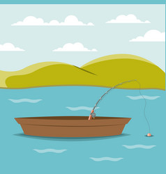 Colorful background lake landscape and fishing vector