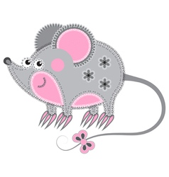 cute cartoon isolated fabric animal mouse vector image vector image