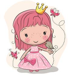 cute fairy-tale princess and a bird vector image